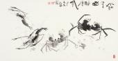 虾蟹图 陶立明花鸟画作品《水泊梁山酒旗风》