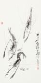 【已售】虾趣图 陶立明花鸟画作品《水村山郭酒旗风》