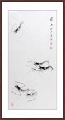 五虾图 郭岚写意花鸟画作品《虾趣》