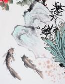 玄关装饰画 井秋月四尺竖幅国画牡丹《富贵有余》