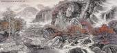 【已售可定制】张振栋六尺写意国画山水《满目深秋枫叶红》
