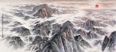【已售可定制】张振栋六尺横幅大海风景画《日映江山图》