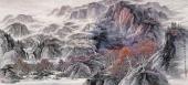 【已售可定制】山水画名家张振栋六尺群山山水画《枫叶染山丘》