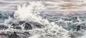 【已售可定制】张振栋山水画大海系列之《观海霞光图》