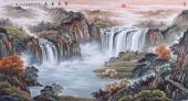 【已售】青山福居图 欧阳六尺横幅山水画《紫气东来》