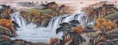 【已售】客厅山水画 广西美协欧阳小六尺聚宝盆山水画《旭日东升》