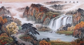 【已售】招财聚宝盆 欧阳六尺山水画作品《源远流长》