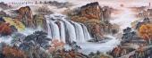 【已售】广西美协欧阳 小六尺聚宝盆山水画《紫气东来》