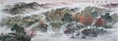【已售】著名山水画家欧阳小八尺山水画作品《秋山红树》