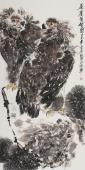 丰伟花鸟画作品四尺竖幅办公室字画《篬崖双雄图》