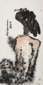 【询价】名家字画 丰伟四尺竖幅水墨鹰《雄踞图》