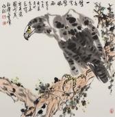 花鸟画名家丰伟四尺斗方国画鹰《一击千里擎风雨》