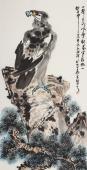 【询价】画鹰名家丰伟四尺竖幅水墨写意鹰《傲居图》