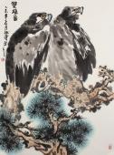 【询价】皖北鹰王 丰伟写意精品国画鹰《双雄图》