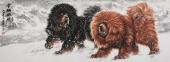 【已售】一熬 王贵邱小六尺写意动物画《雪域风情》
