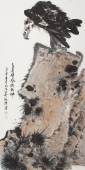 【询价】精品花鸟画 丰伟四尺竖幅写意国画鹰《高岩雄风傲乾坤》