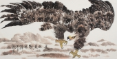 【询价】皖北鹰王 丰伟四尺横幅写意雄鹰图《长风展翅》