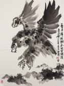 花鸟画家丰伟写意国画鹰《一击尽扫胭脂气 四害横除君子风》