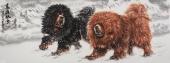 【已售】画獒名家王贵邱小六尺写意动物画《高原风雪》