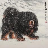 河南美协王贵邱写意斗方动物画精品《王者之风》