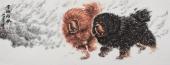 双獒图 中国一熬王贵邱小六尺写意精品动物画《雪域雄风》