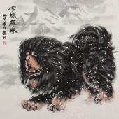 国家一级美术师王贵邱斗方藏獒《雪域雄风》