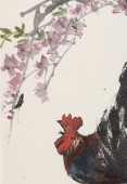 【询价】浙江美协冯志光四尺竖幅雄鸡图《春韵图》