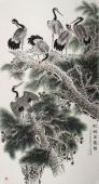 【已售】实力派花鸟画家朱祖义仙鹤字画《松鹤万寿图》
