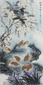 【已售】实力派画家朱祖义四尺竖幅花鸟画《长春久安》