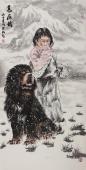 中国藏獒第一人王贵邱四尺竖幅《高原情》