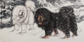 动画画名家王贵邱四尺横幅藏獒《高原风雪》