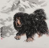 河南美协王贵邱精品斗方藏獒字画