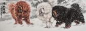 河南美协王贵邱精品六尺横幅藏獒《雪域雄风》