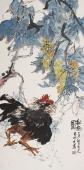 【询价】实力派花鸟名家冯志光四尺竖幅雄鸡图《秋趣图》