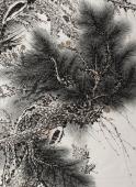 【已售】河南美协朱祖义六尺竖幅松鹤花鸟画《松鹤万寿》