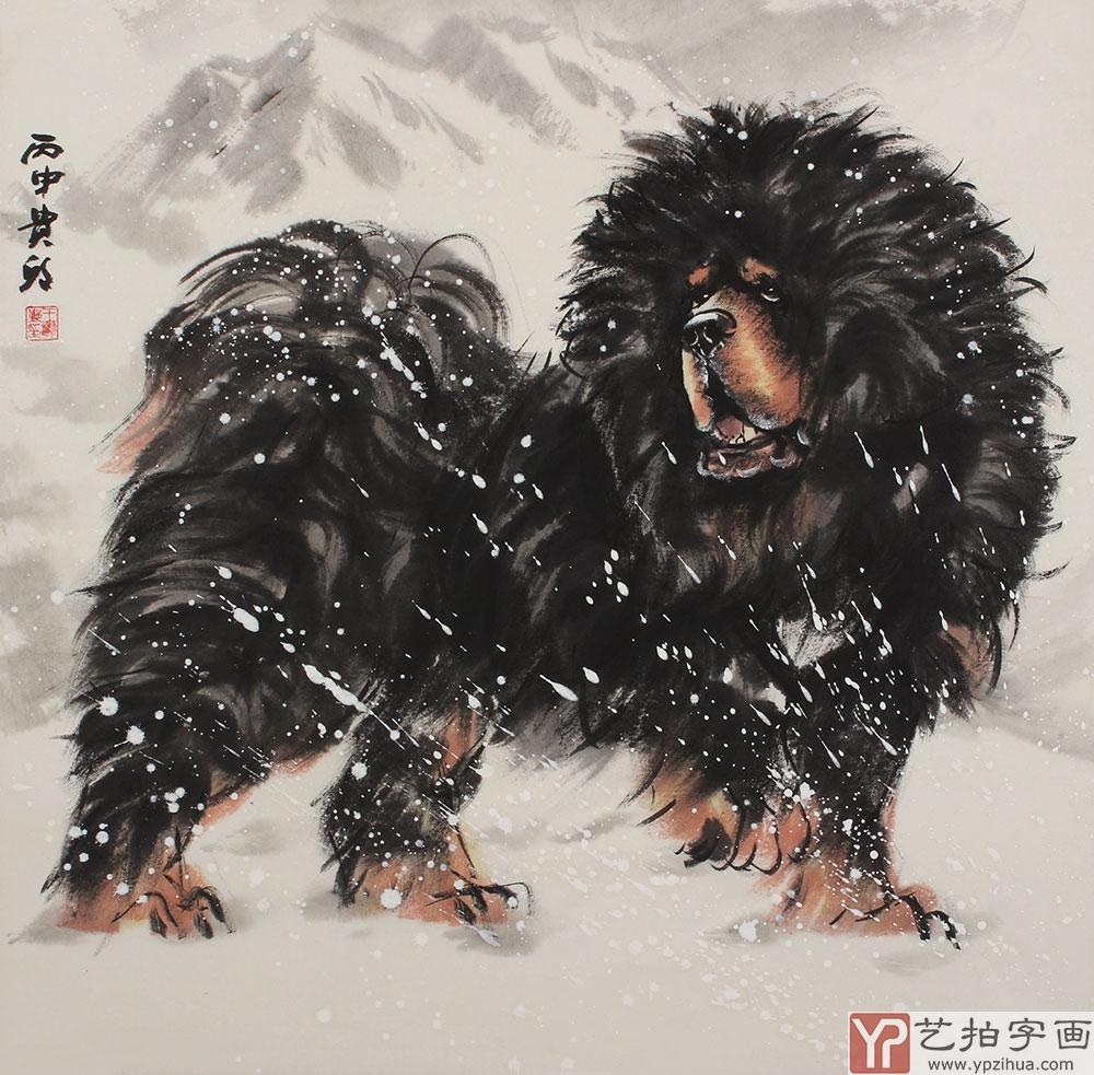 著名动物画画家王贵邱四尺横幅写意动物画《雪域风情
