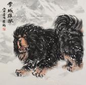 王贵邱精品斗方藏獒《雪域雄风》