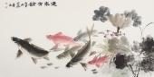 河南美协李春江四尺横幅荷花鱼字画《年年有余》