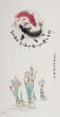 花鸟名家李春江四尺竖幅鱼《双鱼戏水》