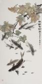 名家花鸟画李春江四尺竖幅《秋韵有余图》