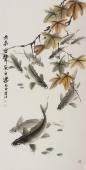 画鱼名家李春江四尺竖幅九鱼图《落叶无声》