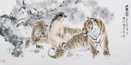 名家字画杨西沐四尺横幅老虎字画《山鬼图》