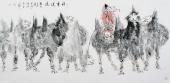 动物画杨西沐四尺横幅骆驼字画《任重道远》