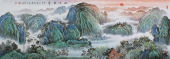 广西美协著名山水画家欧阳精品小六尺横幅山水画《旭日东升》