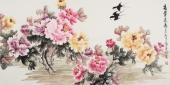 花鸟画名家寇萍四尺横幅牡丹《富贵长春》