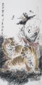 动物画名家杨西沐四尺竖幅《愿君宝剑》