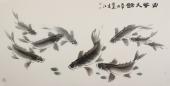 画鱼名家李春江四尺横幅鱼《富贵久鱼》