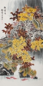 花鸟画名家李春江四尺竖幅《秋实图》