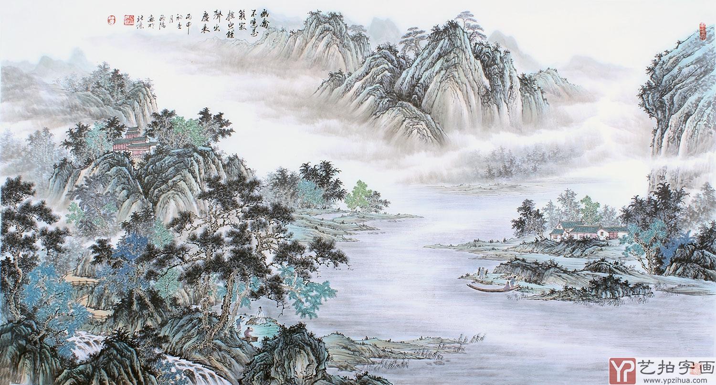 西美协欧阳六尺横幅仿古山水画图片