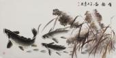 《有余图》花鸟名家李春江四尺横幅鱼